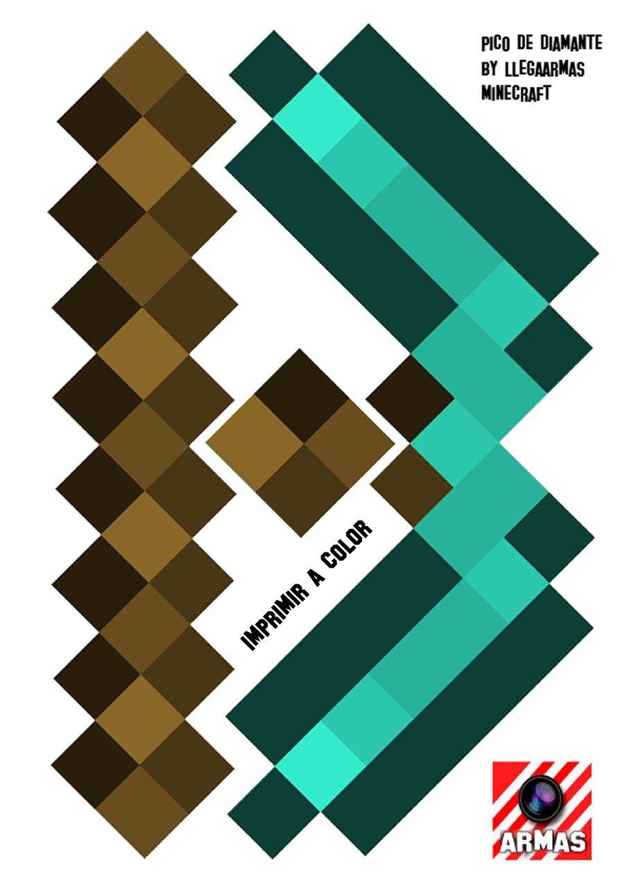 Plantilla Pico De Diamante Minecraft Llegaarmas