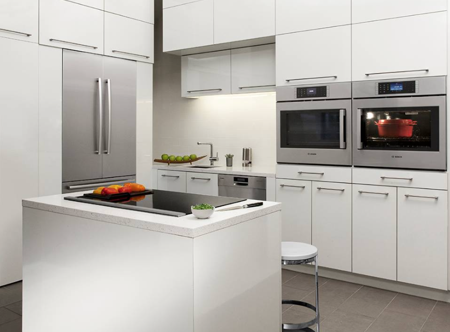 Bosch Stainless Steel Appliances Complete The Modern Look In This White Kitchen Http W Kitchen Design Small Modern Kitchen Plans Kitchen Design Modern Small