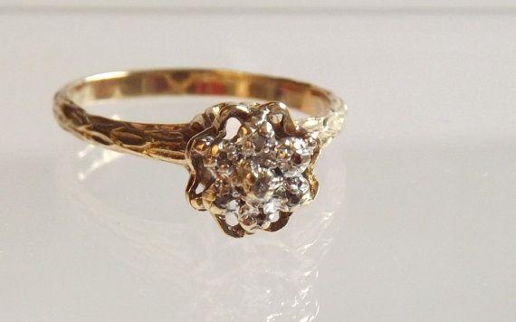 Vintage Fancy Tulip Diamond Ring 7 Diamonds 10k Yellow Gold Engagement Ring Wedding Band Wedding Rings Sparkle Diamonds
