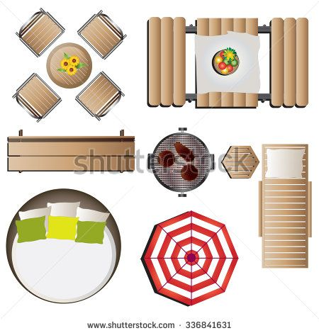Ordinaire Outdoor Furniture Top View Set 12 For Landscape Design , Vector Illustration