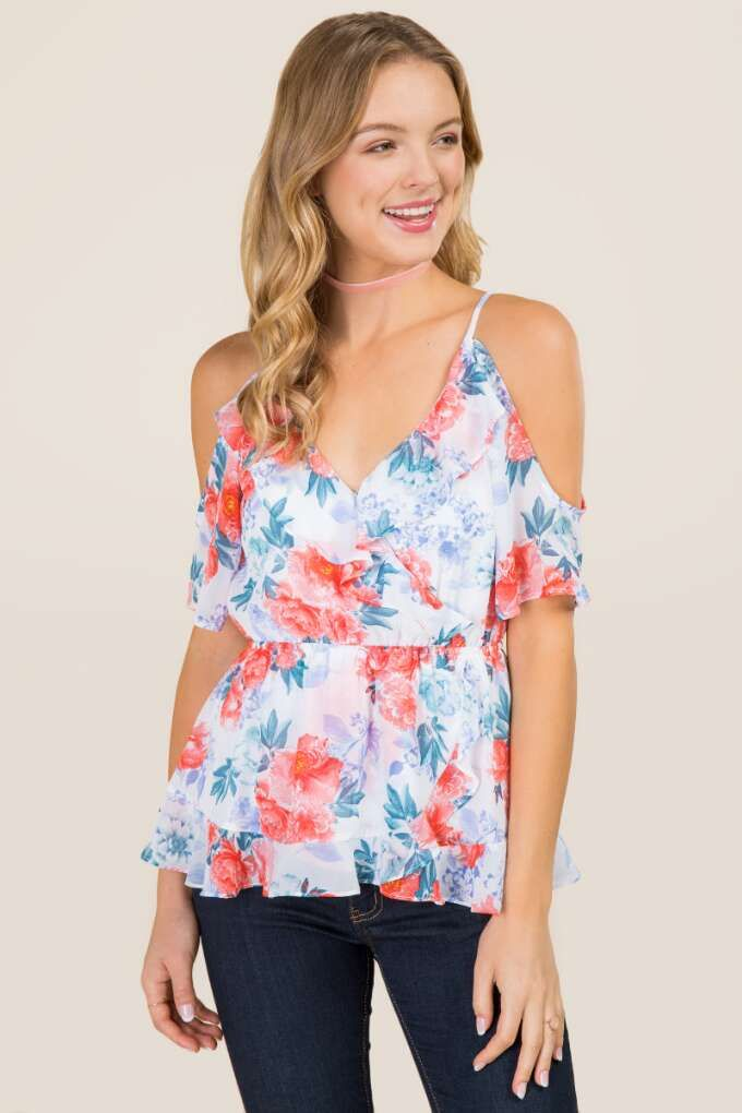 043abc868d836b Deanne Floral Ruffle Wrap Cold Shoulder Top