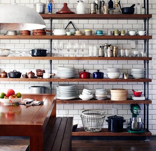 Open Industrial Style Shelving Kitchen Shelf Design Industrial Kitchen Shelves Kitchen Interior