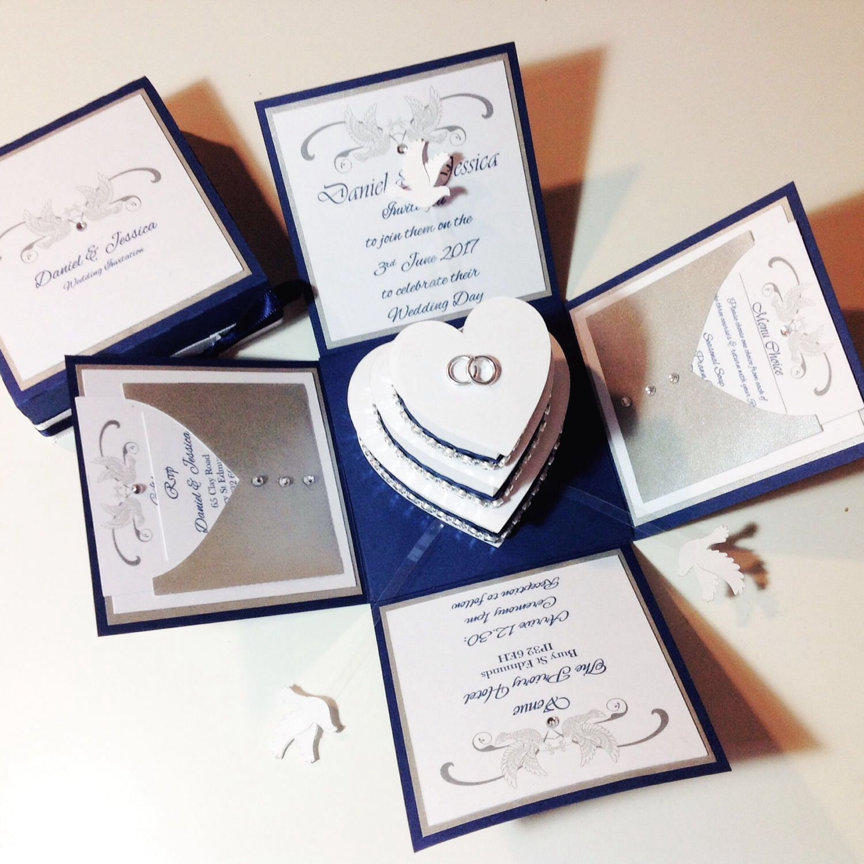 Exploding Wedding Invitation Boxes. Doves & Hearts Design