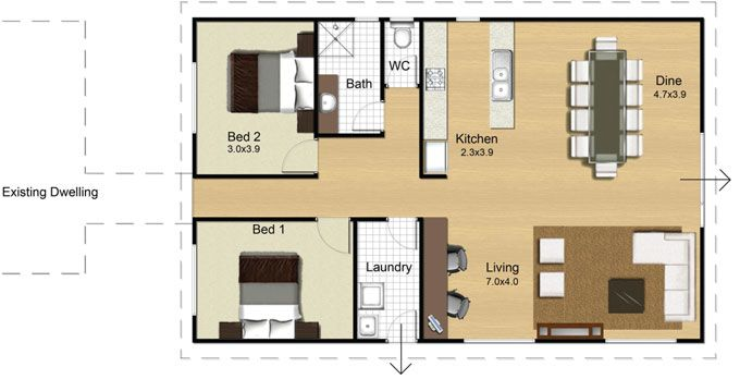 Modular 108 floorplan 2bed 1bath flat pinterest for 3 bedroom granny flat designs