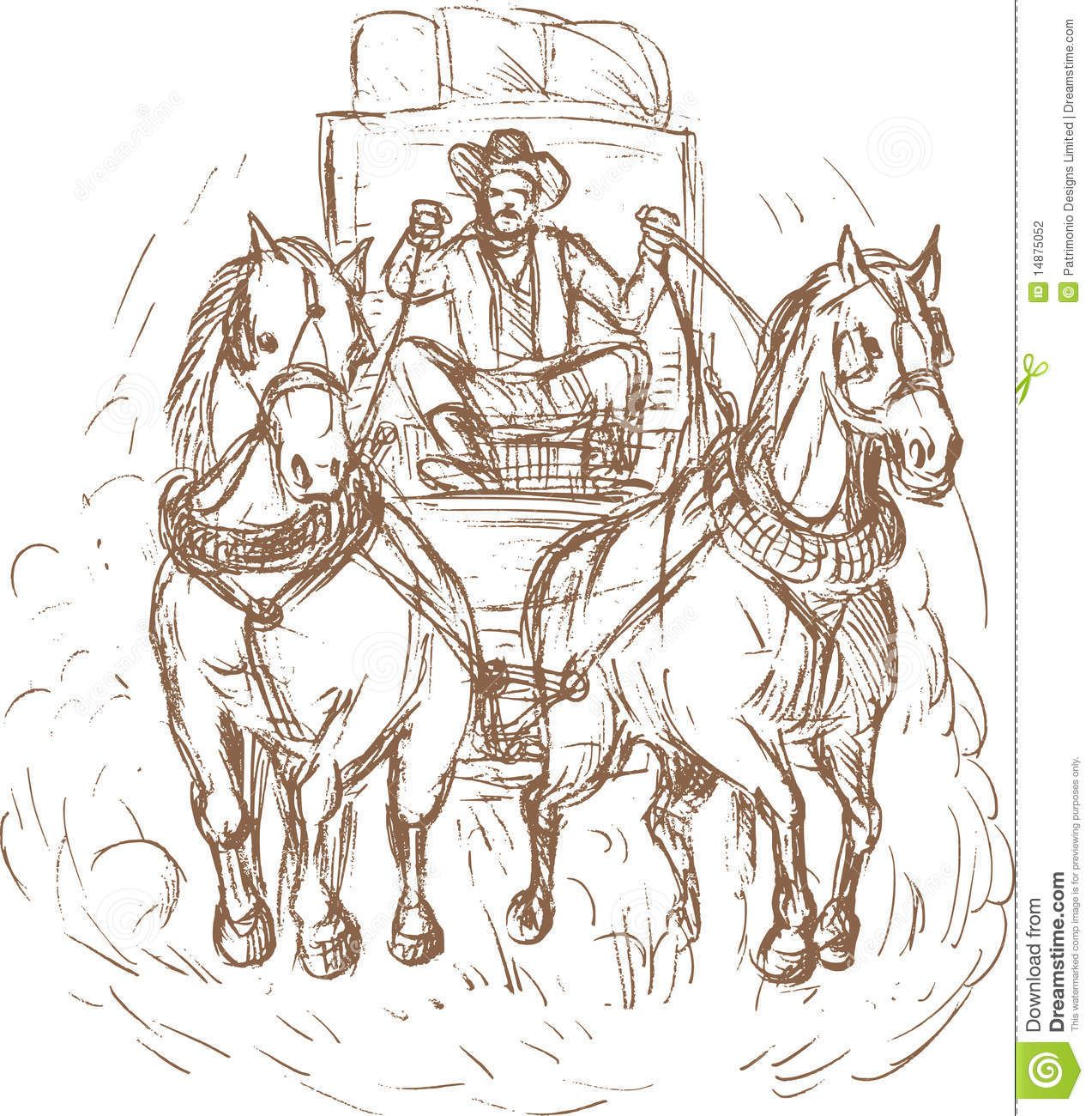 Cowboy Stagecoach Driver Horses Stock Illustration Illustration