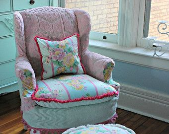Custom Order Shabby Chic Slipcovered Wingback Chair In Vintage Sea Foam  Green And Pink Chenille.a Storybook Chair