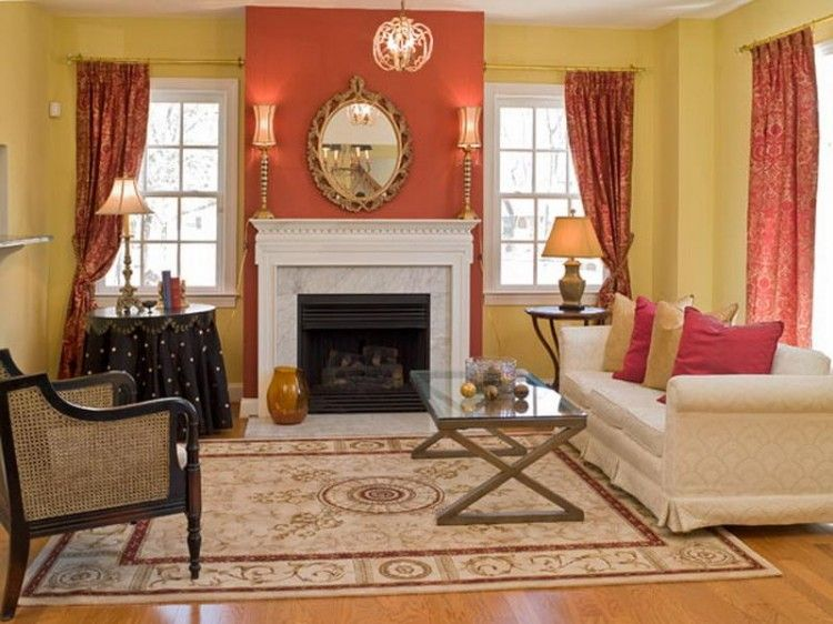 Decorations Accessories Interior Coral Accent Wall Living Room Simple Home Decoration Wi Accent Walls In Living Room Orange Accent Walls Beautiful Living Rooms #orange #accent #living #room