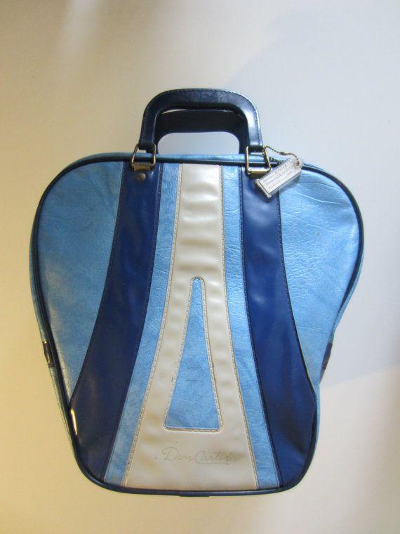 Vintage Don Carter Bowling Bag in Sky Blue w/ Address Tag // Vintage Bowling Bag
