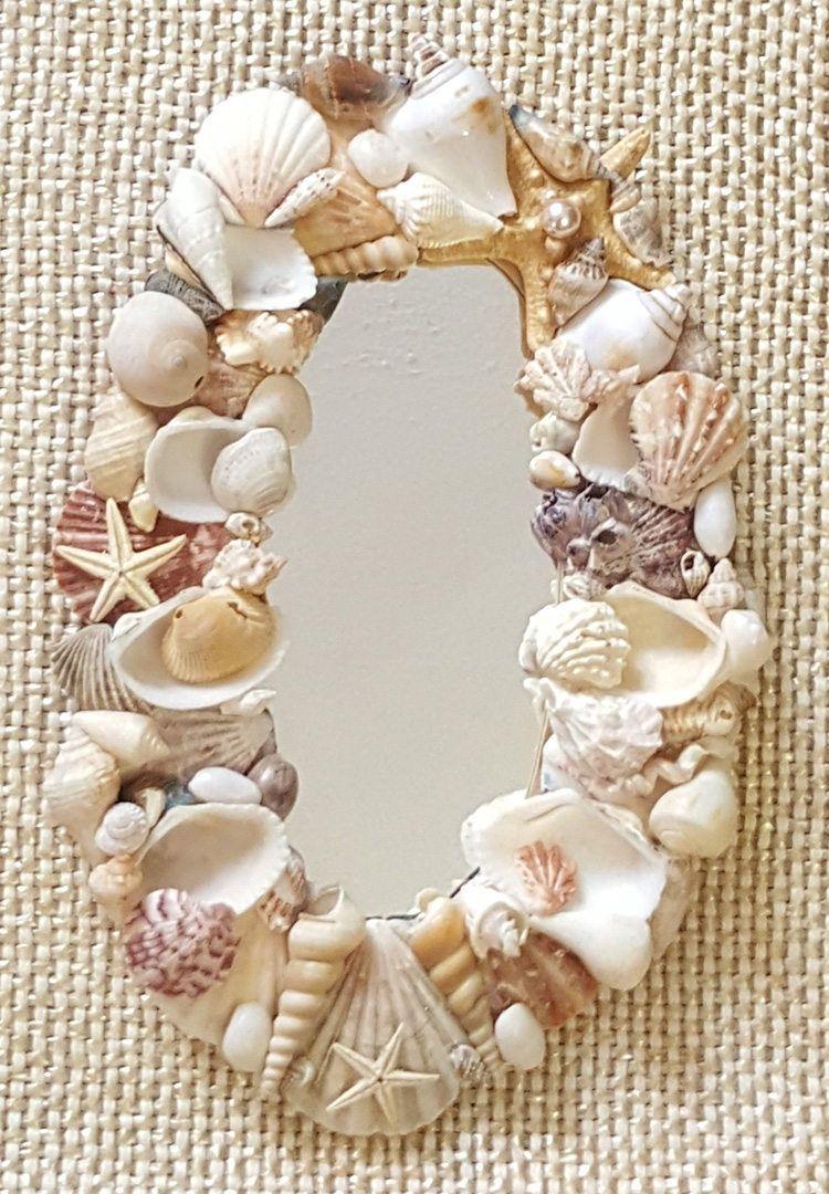 Gorgeous Seashell Framed Mirror Beach Decor Shell Mirror Nautical Decor By Fearlessdivas On Etsy Seashell Frame Shell Crafts Diy Shell Mirror