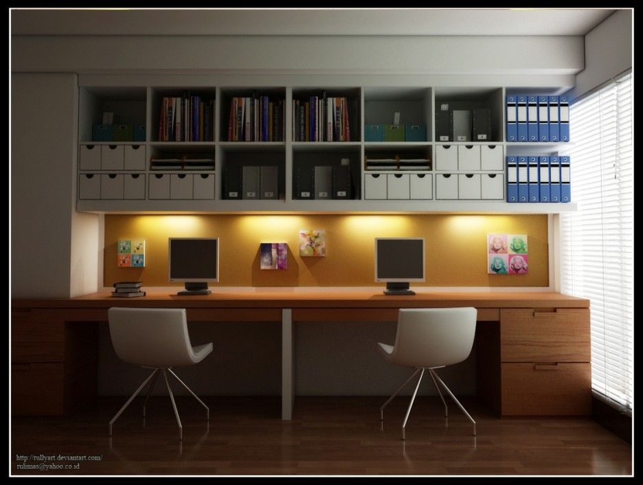 Modern Home Office Design For Two Persons Come With Natural Solid Wood Office Desk And Built In Sto Modern Home Offices Ikea Home Office Office Interior Design