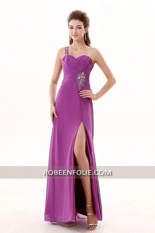 Robe de soirée longue violet bustier asymétrique avec un dos du ...