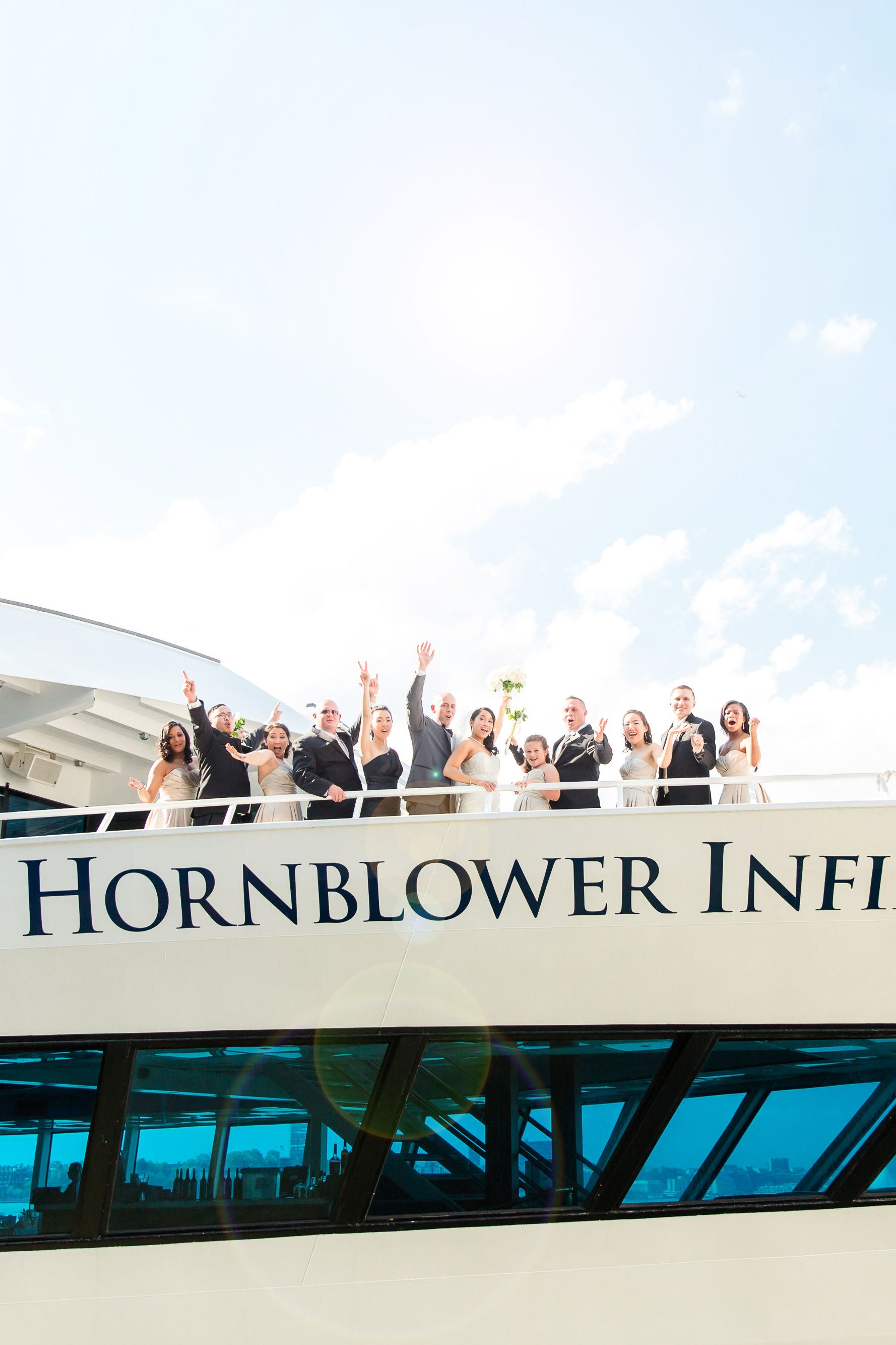 Bridal Party poses for Nautical Wedding on a Hornblower