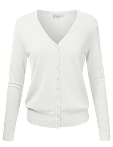 JJ Perfection Women s V-Neck Button Down Long Sleeve Knit Cardigan Sweater 907ed21f7