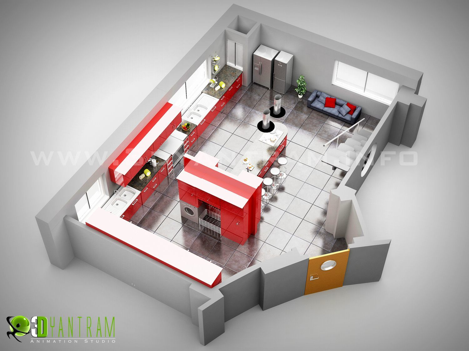 Restaurant Kitchen 3d Model studio kitchen 3d floor plan design sydeny , australia | plantas