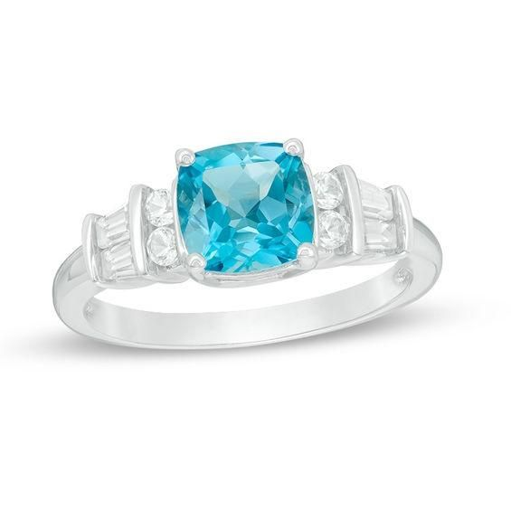 Zales 7.0mm Cushion-Cut Blue and White Topaz Ring in Sterling Silver 0YJEuEg688
