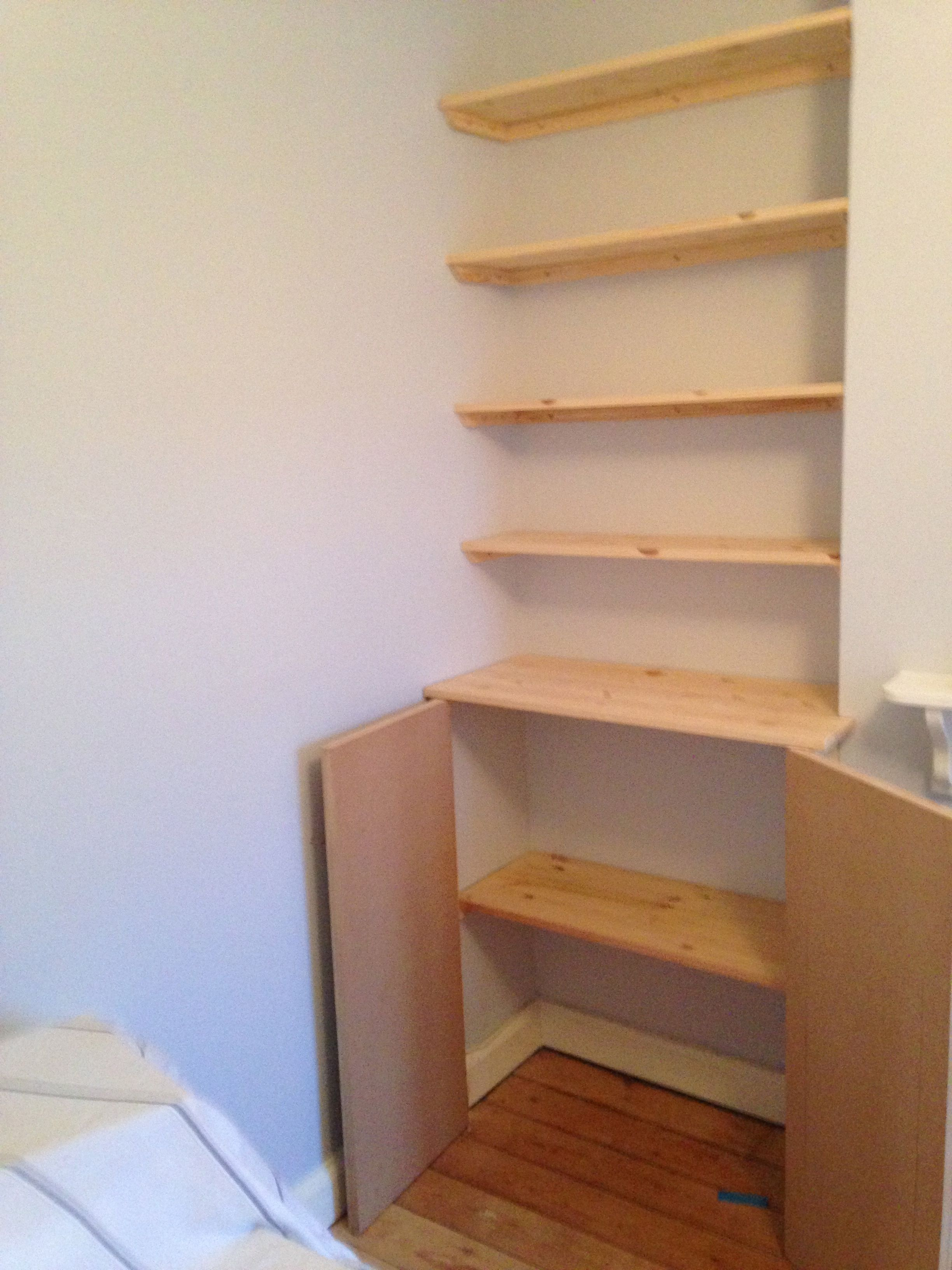Fitted shelving, cupboards and flooring | Diy shelves ...