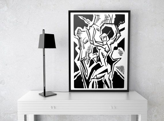Cubism art block print giclee dancer print black white decor 5x7 8x10 11x14 16x20 18x24 24x30 art poster abstract minimalist decor