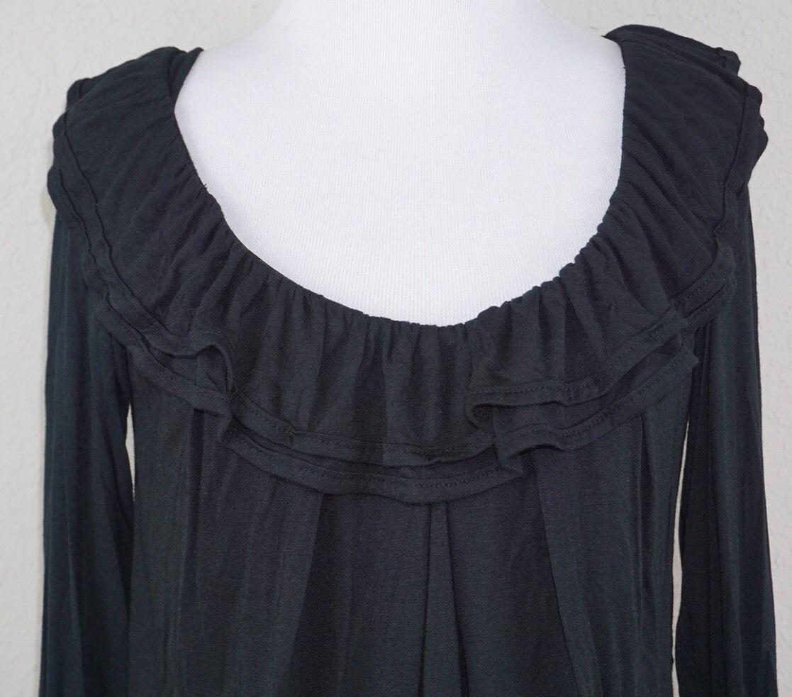 Anthropologie bordeaux black ruffle long sleeve blouse career bell
