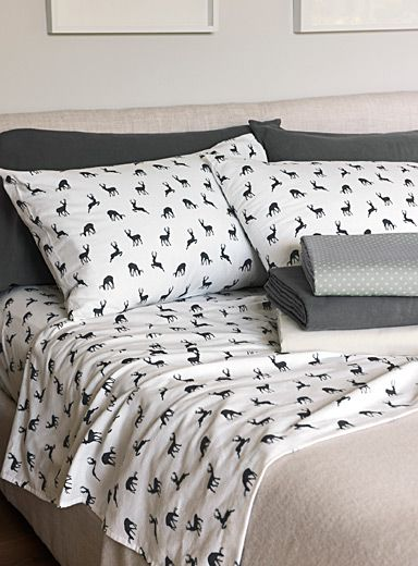 Dancing Deer Flannel Sheet Fits Mattresses Up To 15 In Flannel Bed Sheets Bed Sheets Online Home