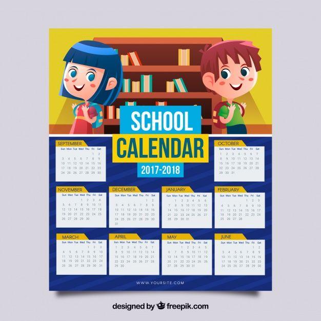 Calendário escolar 2017-2018 com crianças Vetor grátis Simples - school calendar