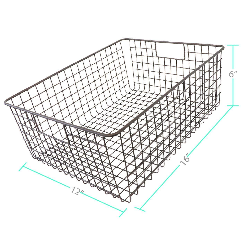 Kitchen Basics 101 Large Farmhouse Metal Wire Storage Basket Bins With Handles 16 X 12 X 6 Closets Deta In 2020 Wire Storage Wire Basket Storage Storage Baskets