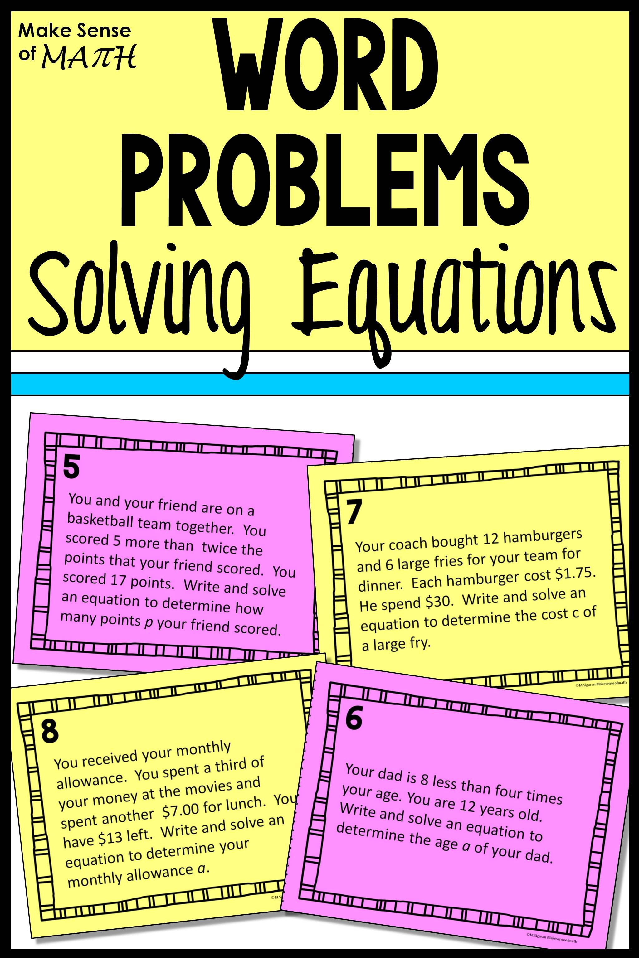 Solving Equations Word Problems Word Problems Solving Equations Math Word Problems