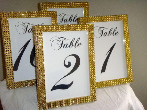 Set Of 10 Gold Rhinestone 5x7 Photo Frames Wedding Or By Modmv