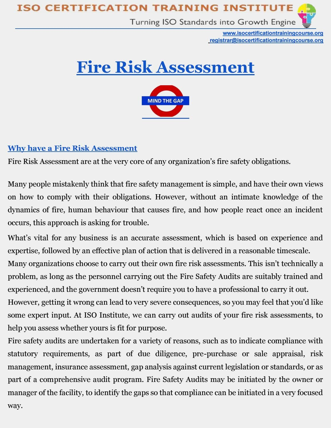 Fire Risk Assessment  Safety Audit Fire Prevention And Fire Safety