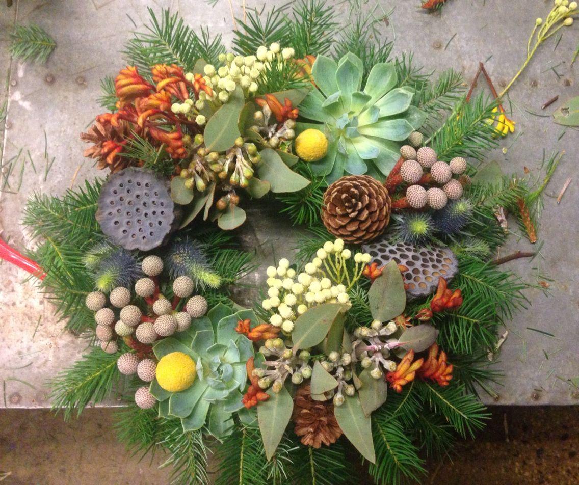Australian Native themed Christmas wreath Christmas
