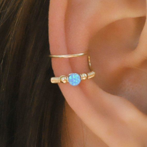 5db4da750 Cartilage Cuff, Blue Opal Ear Cuff, Ear Cuff, Fake Piercing, No Piercing,  Double Cuff, Cartilage Cuf