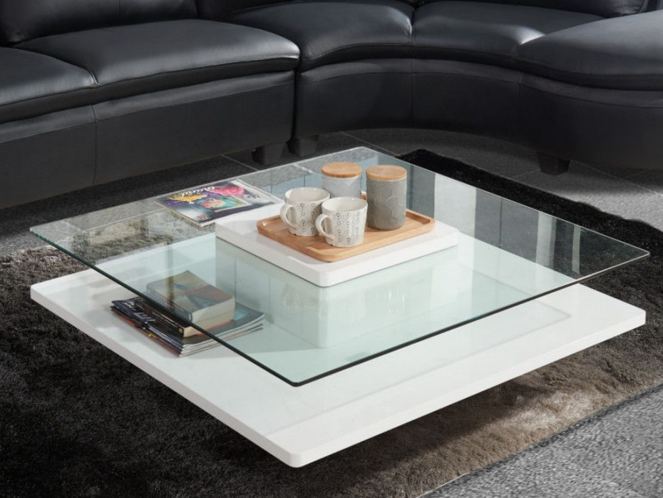 Table Basse Isania Verre Trempe Mdf Blanc Table Basse Table Basse Verre Table Basse Laquee