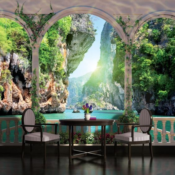 Realistic 3d Wallpaper Design For Dining Area At Home And Restaurants Creative Ways To Use 3d Wallp Wall Wallpaper Bedroom Wallpaper Beach 3d Wallpaper Design