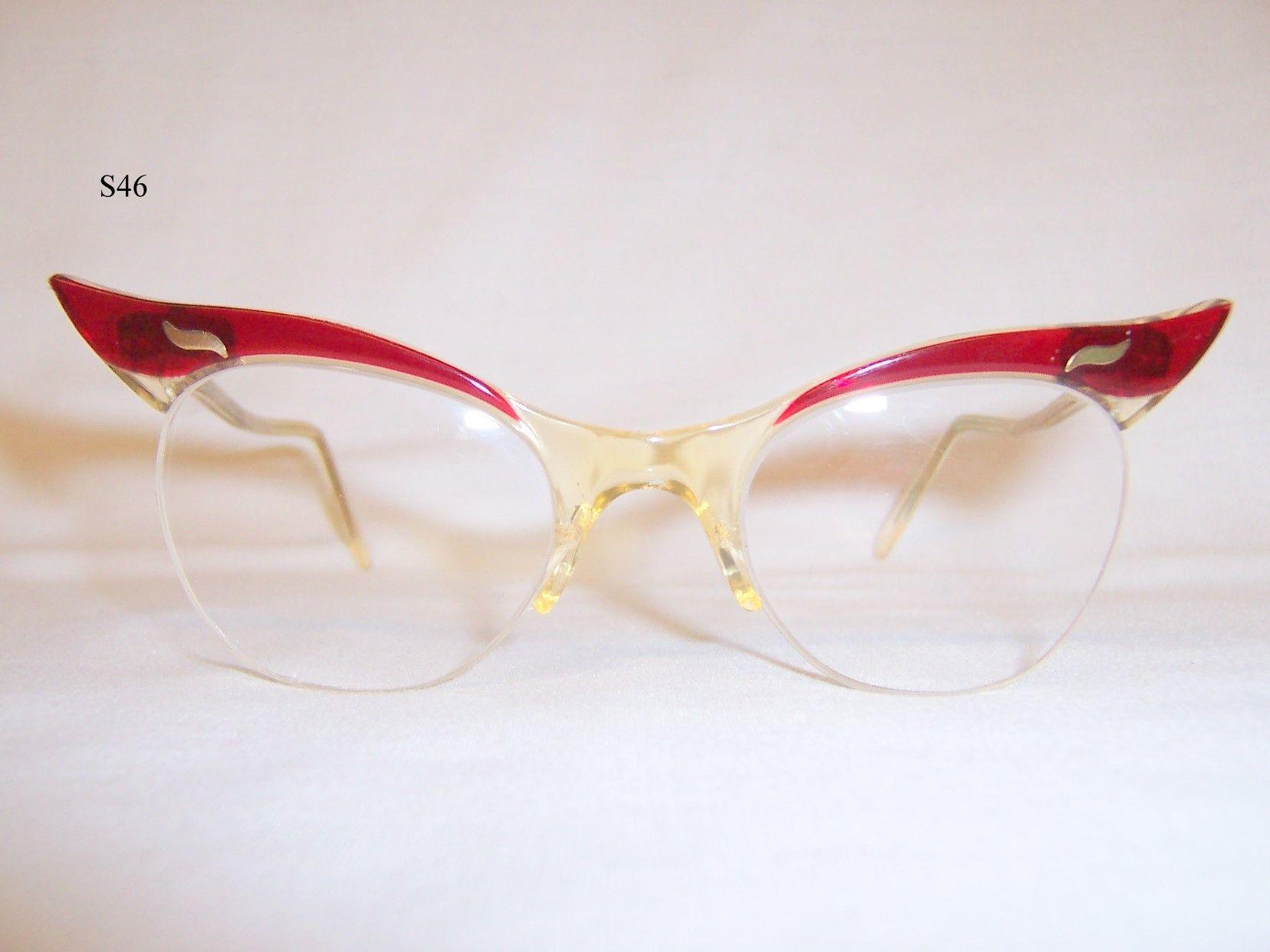 Classic 1950 60s Semi Rimless Supra Spectacles Red Vintage Glasses Retro Glasses Vintage Glasses Glasses