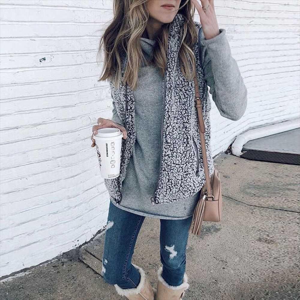 Fuzzy faux fur winter outerwear sherpa fleece vest in fall