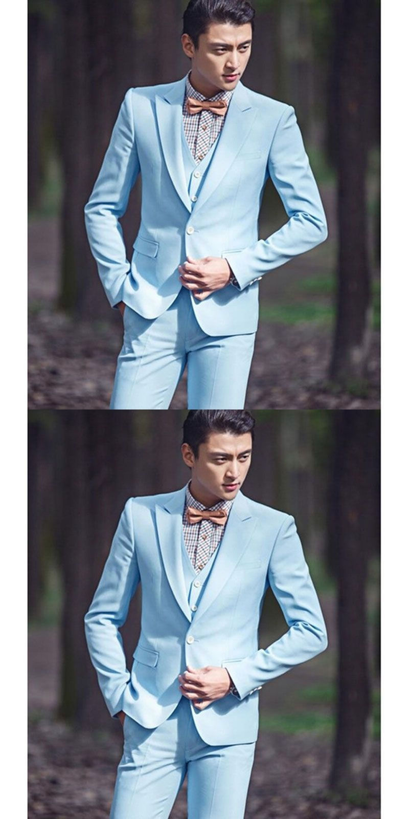 Classic One Button Sky Blue Groom men suit Tuxedo Groomsmen Mens ...