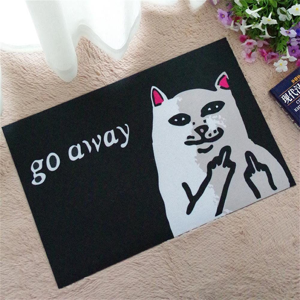 Llq Angry White Cat Go Away Printed Doormat Indoor Non Slip Door Mat Outdoor Front Door Entrance Rug Shoes Scraper C Door Mat Carpet Flooring Non Slip Flooring
