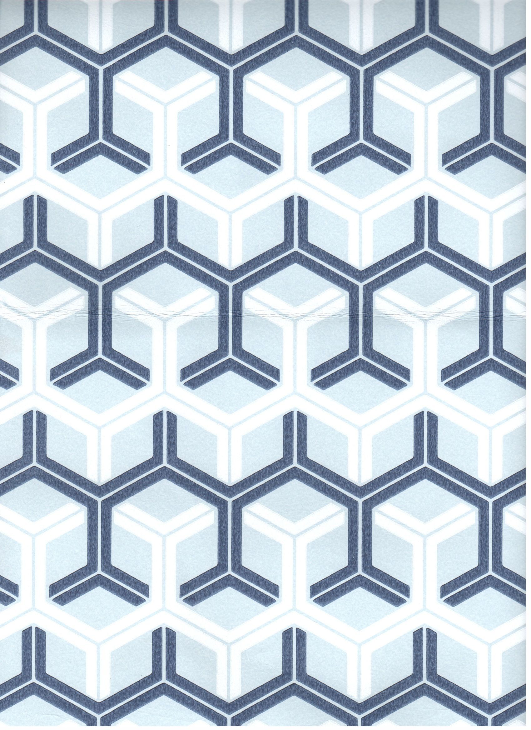 Geometric Navy, Blue, and White Wallpaper for Ceiling by
