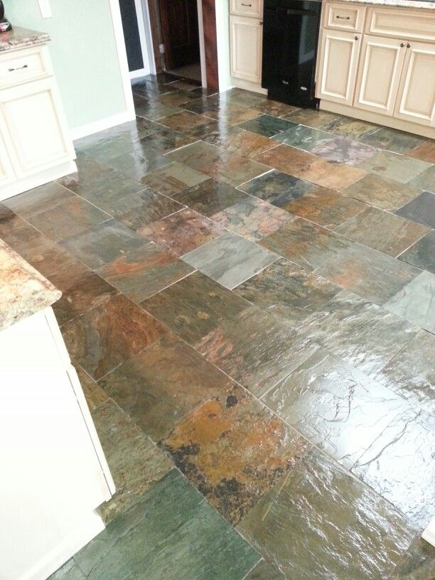 Our New Kitchen Floor Natural Slate With A Clear Coat On It Total - Clear coat for tile floors
