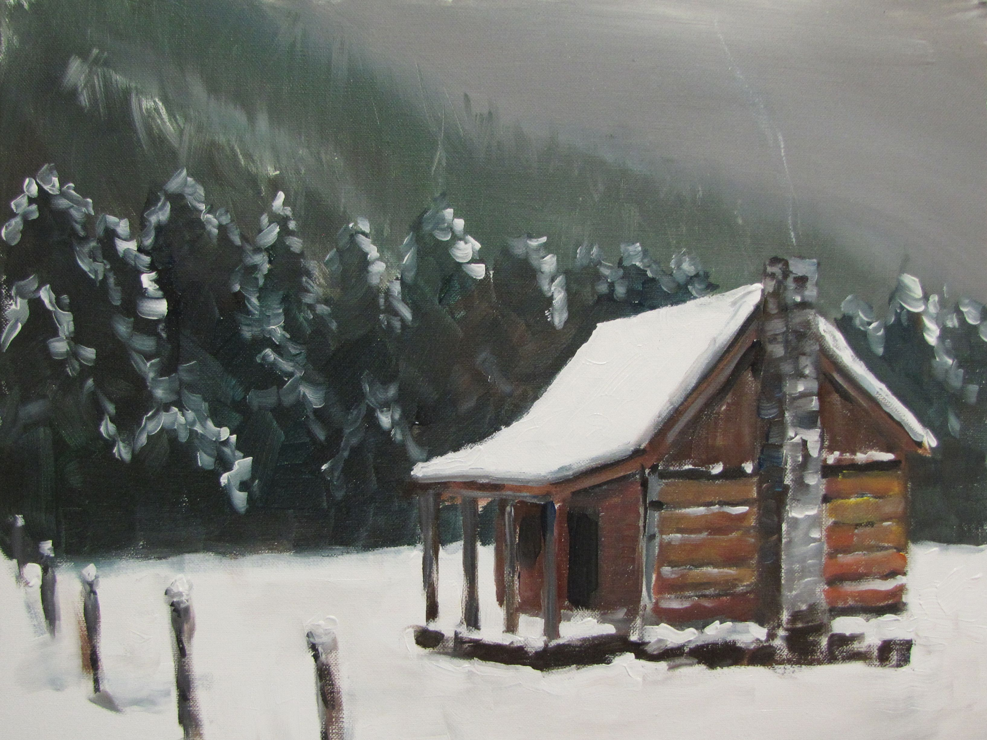 Mountain Cabin Painting Cabins Log Homes Pinterest