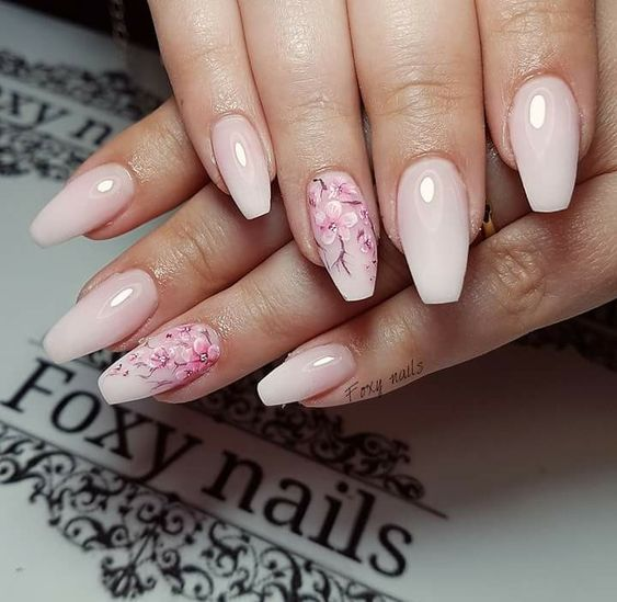 Pin By Elena On Nails In 2020 Pink Flower Nails Cherry Blossom Nails Pink Nail Designs