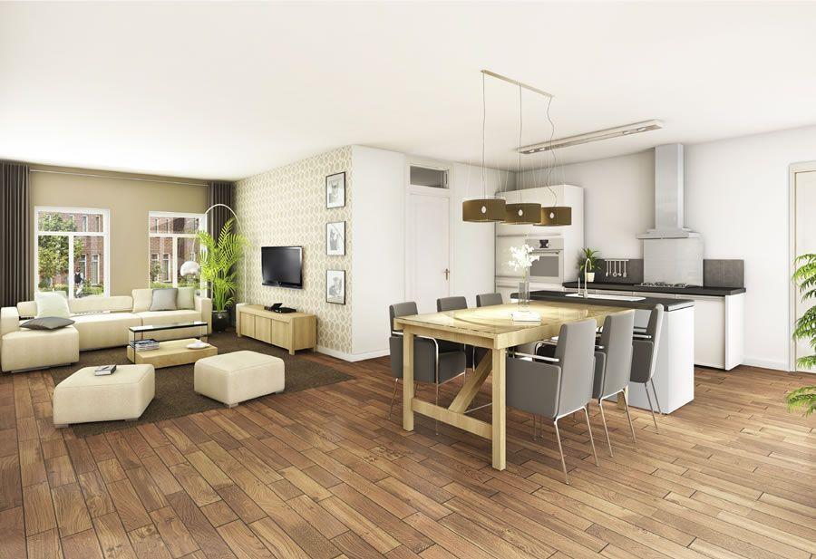 Doorzonwoning indelen open keuken google zoeken keukens pinterest searching - Open keuken m ...