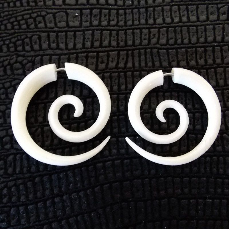 1 25 Quot Spiral Circle Fake Gauge Tribal Earrings Carved