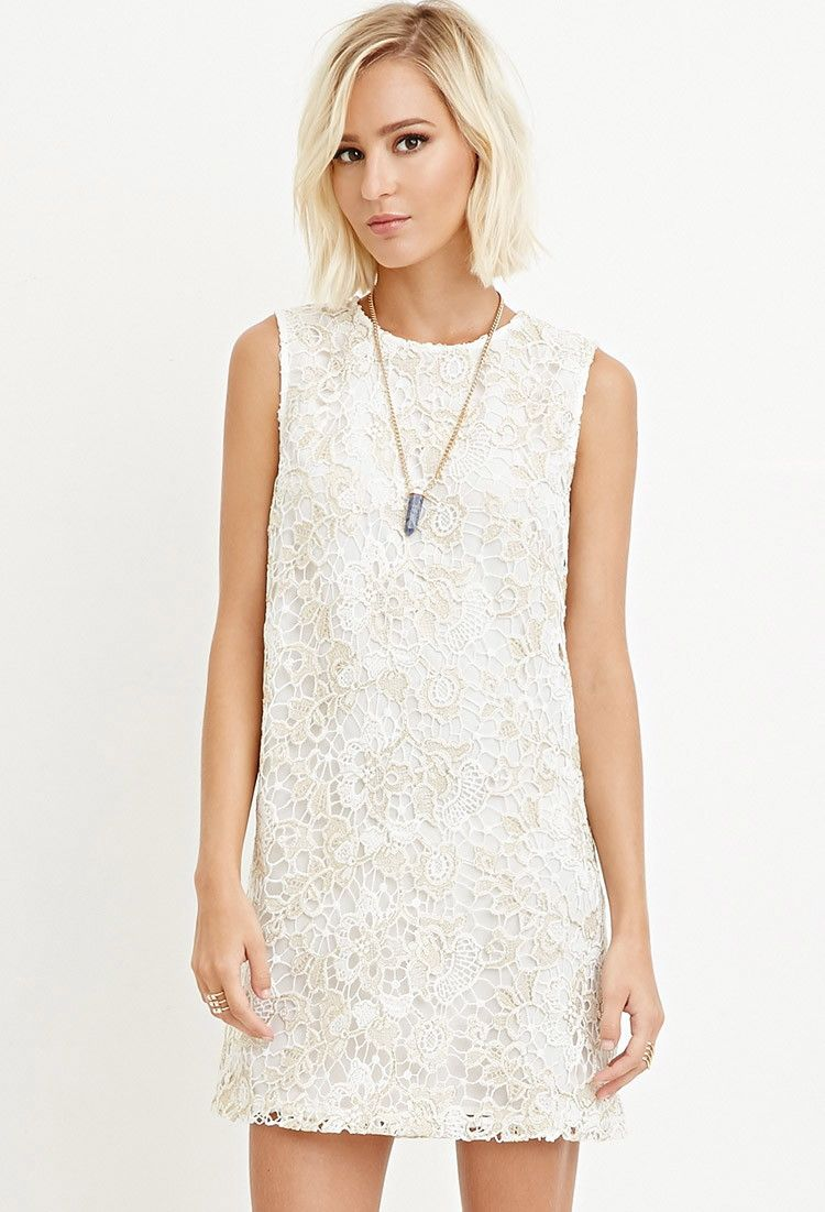 0e945efd5f8 Metallic Crochet Shift Dress