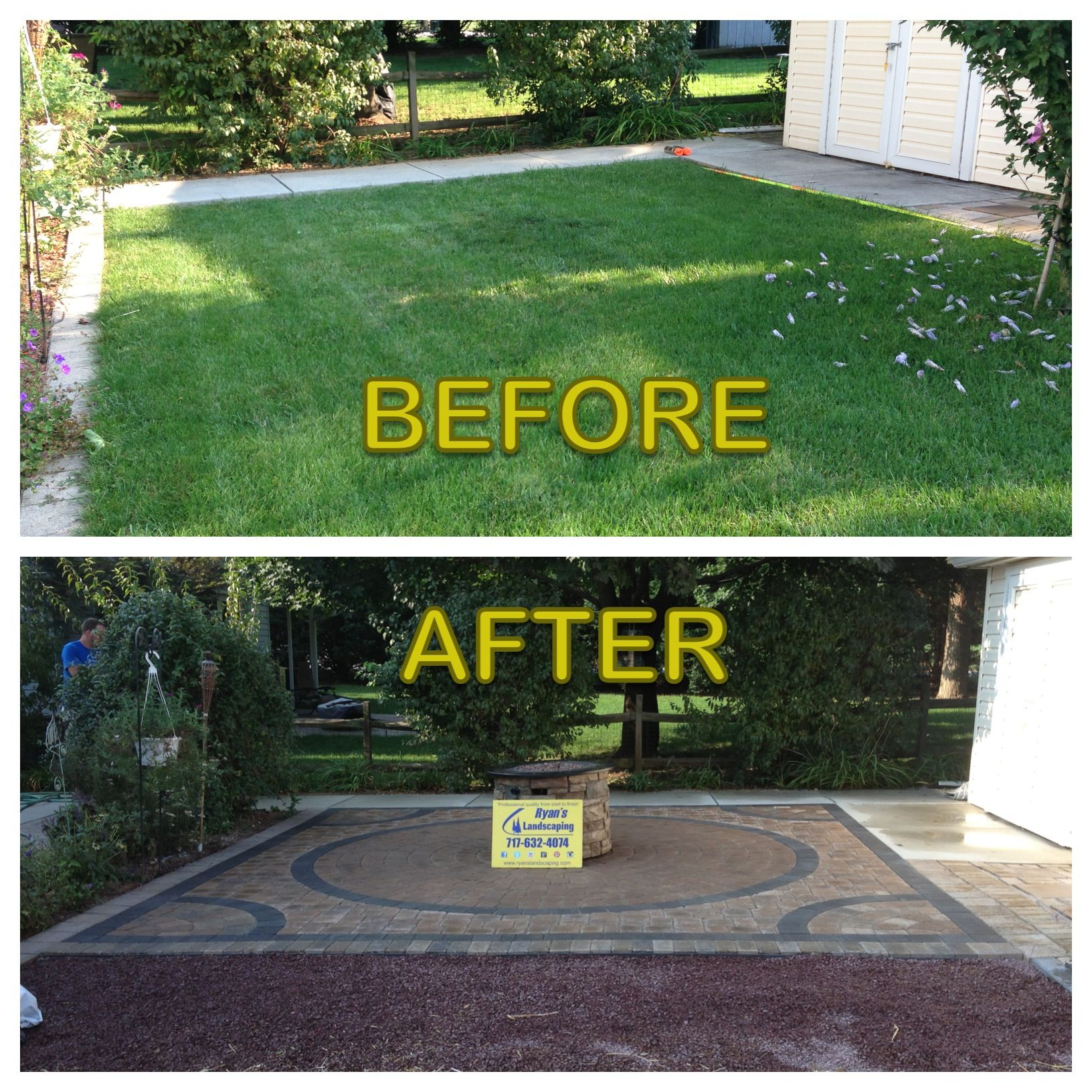 before and after of interlocking paver patio installation. Black Bedroom Furniture Sets. Home Design Ideas