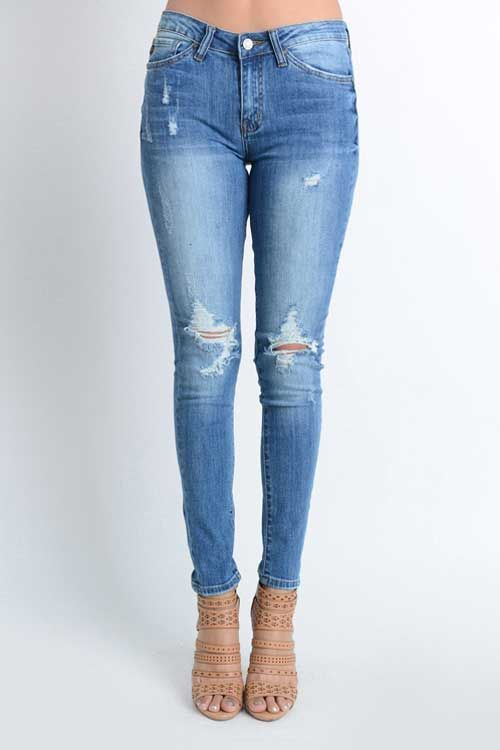 Kancan Jeans Medium Wash Ripped Skinny Jeans For Women Best Jeans For Women Skinny Denim Women Jeans