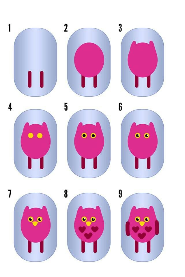 Owl nail art how to