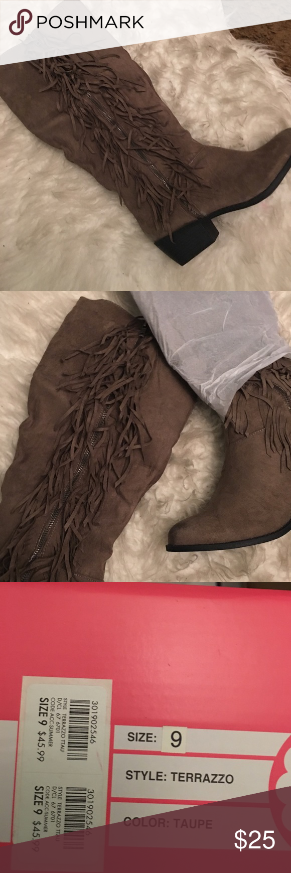 ⚡️FLASH SALE⚡️ NIB boots with fringe detail Cute boots that can pair up with any outfit. I have too many pairs, so I forgot I had them 🙈 Charlotte Russe Shoes