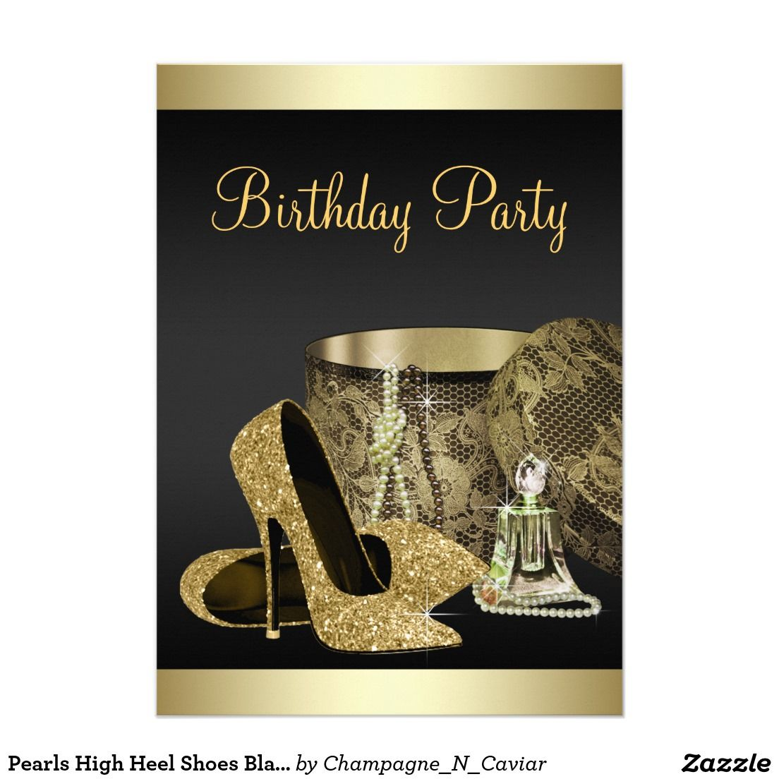 Gold color cardstock paper 5x7 - Pearls High Heel Shoes Black Gold Womans Birthday 5x7 Paper Invitation Card