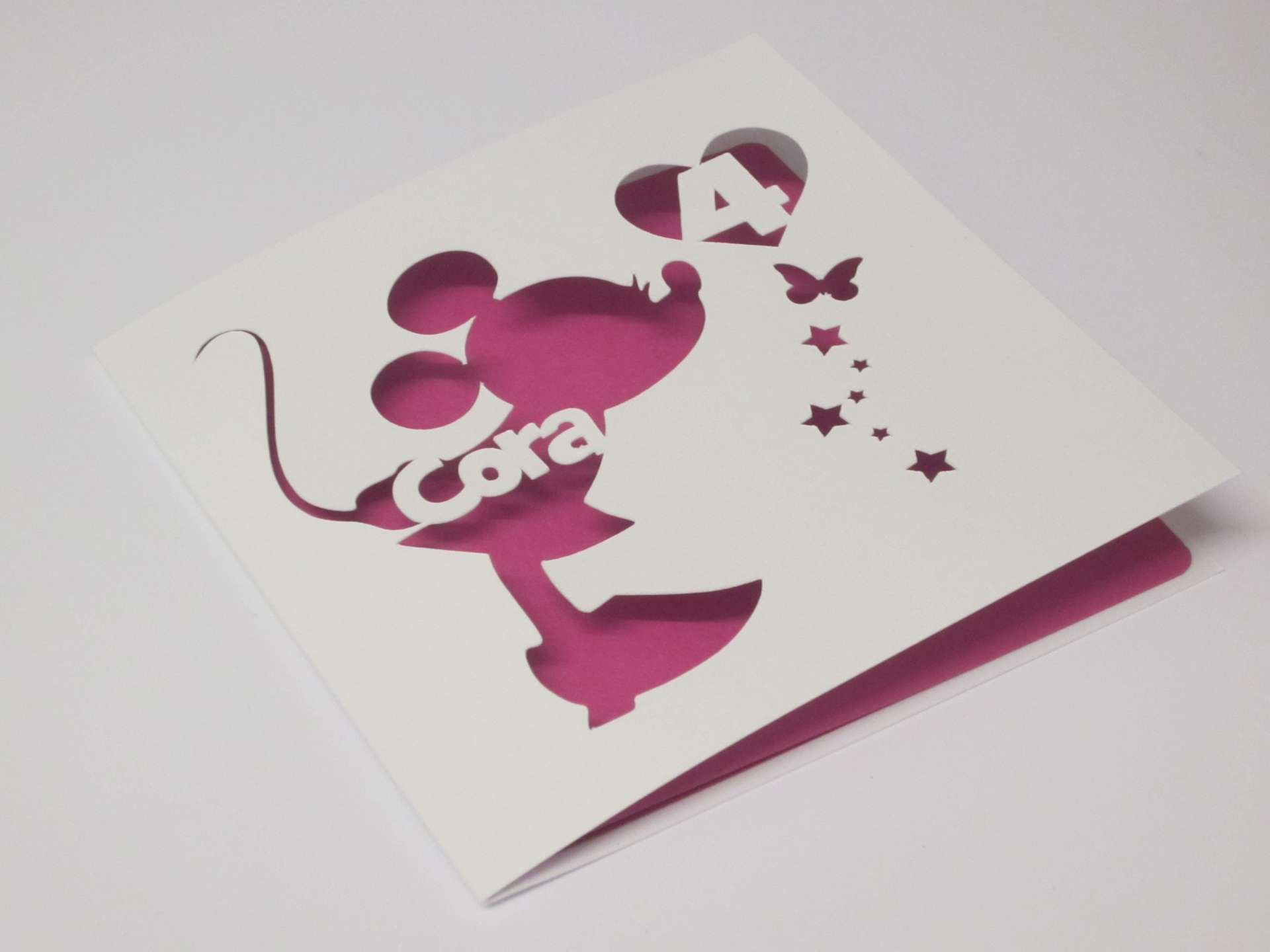 Minnie Mouse Personalised Papercut Birthday Card