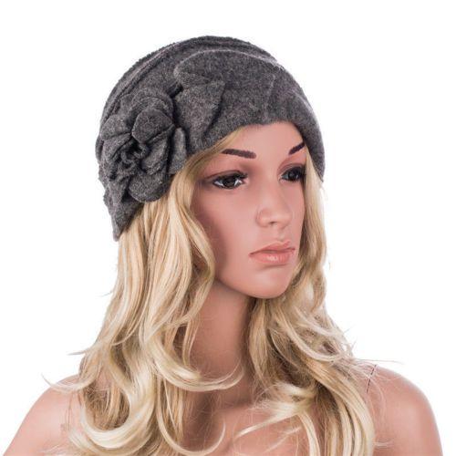 A376-Women-039-s-Winter-Warm-Wrinkle-Beret-Wool-Chic-Trimmed-Flower-Beanie-Hat